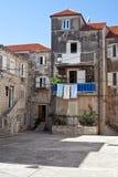 Vecchia città storica di Korcula, isola mediterranea della Croazia fotografia stock