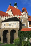 Vecchia città storica Prachatice - chiesa Immagine Stock Libera da Diritti