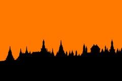 Vecchia città Tailandia della siluetta Immagine Stock
