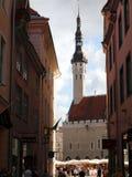 Vecchia città, Tallinn, Estonia. Un segnavento fotografia stock