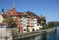 Vecchia città tedesca Laufenburg sul fiume di Reno Fotografia Stock