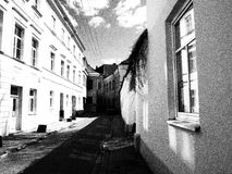 Vecchia città, Vilnius in bianco e nero Fotografie Stock