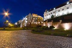 Vecchia città di Grudziadz alla notte Immagini Stock