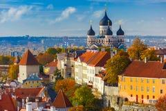 Vecchia città di vista aerea, Tallinn, Estonia Fotografie Stock Libere da Diritti