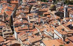 Vecchia città piacevole da sopra Fotografie Stock Libere da Diritti