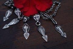 Vecchia collana d'argento Fotografia Stock