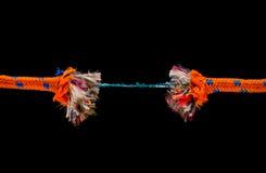 Vecchia corda rotta - rischio e concetto di forza maggiore Fotografia Stock
