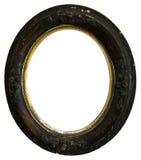 Vecchia cornice rotonda di legno antica d'annata, isolata Immagini Stock Libere da Diritti