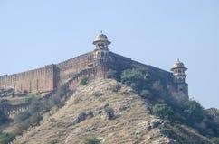 Vecchia costruzione architettonica della fortificazione in India sulla montagna Fotografia Stock Libera da Diritti