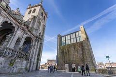 Vecchia costruzione del comune della città di Oporto - la casa da Câmara di Antiga Immagini Stock