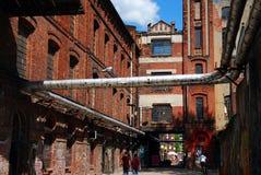 Vecchia costruzione della fabbrica FUORI da Piotrkowska a Lodz Immagini Stock Libere da Diritti