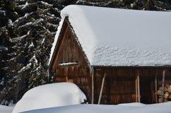Vecchia costruzione di legno in inverno Fotografia Stock Libera da Diritti