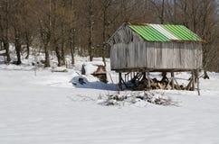 Vecchia costruzione di stoccaggio di legno Fotografie Stock Libere da Diritti