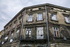 Vecchia costruzione nel quarto ebreo a Cracovia fotografie stock libere da diritti