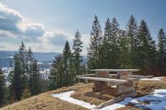 Vecchia della tavola collina di legno in cima con gli abeti rossi fotografie stock