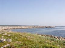 Vecchia diga sulle isole di Solovki Fotografia Stock Libera da Diritti