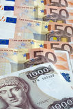 Vecchia dracma greca ed euro note di contanti Fotografie Stock Libere da Diritti