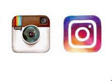 Vecchia e nuova icona disegnata a mano della macchina fotografica di Instagram del logotype Immagini Stock Libere da Diritti