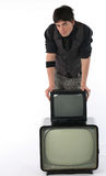 Vecchia e nuova tecnologia della TV Fotografia Stock Libera da Diritti