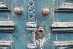 Vecchia fine blu della porta su Fotografia Stock Libera da Diritti