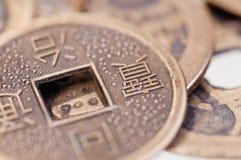 Vecchia fine cinese della moneta in su Fotografia Stock