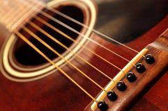 Vecchia fine della chitarra in su Fotografia Stock Libera da Diritti