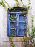 Vecchia finestra blu immagine stock