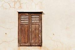 Vecchia finestra croata di legno Fotografia Stock Libera da Diritti