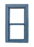 Vecchia finestra di legno blu isolata Immagine Stock