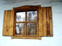 Vecchia finestra fatta a mano russa Immagine Stock Libera da Diritti