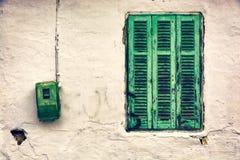 Vecchia finestra verde Fotografia Stock