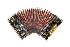 Vecchia fisarmonica isolata Armonica d'annata Retro fisarmonica del bottone Immagini Stock