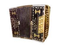 Vecchia fisarmonica isolata Armonica d'annata Retro fisarmonica del bottone Fotografie Stock