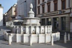 Vecchia fontana medievale sulla piazza Cavour Fotografie Stock Libere da Diritti