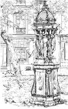 Vecchia fontana a Montmartre - Parigi Fotografia Stock Libera da Diritti