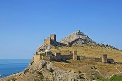 Vecchia fortezza genovese in Sudak Fotografie Stock Libere da Diritti
