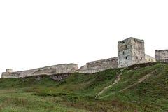 Vecchia fortezza sulla collina isolata su fondo bianco immagine stock