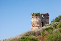Vecchia fortificazione di pietra nella regione di Piana La Corsica, Francia Fotografie Stock Libere da Diritti