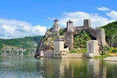 Vecchia fortificazione medievale Golubac Fotografia Stock Libera da Diritti