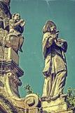 Vecchia foto con il monumento 2 di peste Immagini Stock