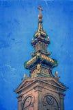 Vecchia foto con la torre della chiesa della cattedrale di St Michael in Belgr Immagini Stock