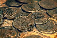 Vecchia foto con le vecchie monete 1 Fotografia Stock