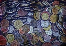 Vecchia foto con le vecchie monete 3 Fotografia Stock