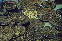 Vecchia foto con le vecchie monete 5 Fotografie Stock