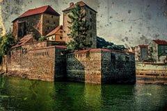 Vecchia foto dei fiumi aderenti Danubio e Ilz Fotografia Stock