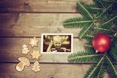 Vecchia foto di Natale con il ragazzo sorridente del blod Fotografia Stock Libera da Diritti