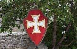 Vecchia foto templar dell'attrezzatura del cavaliere dello schermo Fotografie Stock Libere da Diritti