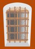 Vecchia grata su una vecchia finestra Fotografia Stock Libera da Diritti
