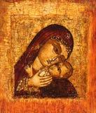 Vecchia icona della madre del dio Fotografia Stock Libera da Diritti