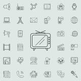 Vecchia icona della TV Insieme dettagliato delle icone di media Segno premio di progettazione grafica di qualità Una delle icone  Fotografia Stock Libera da Diritti